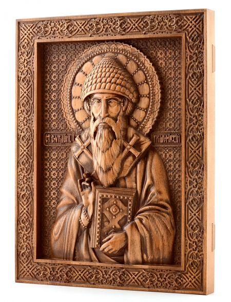 Деревянная резная икона «Спиридона Тримифунтского» бук