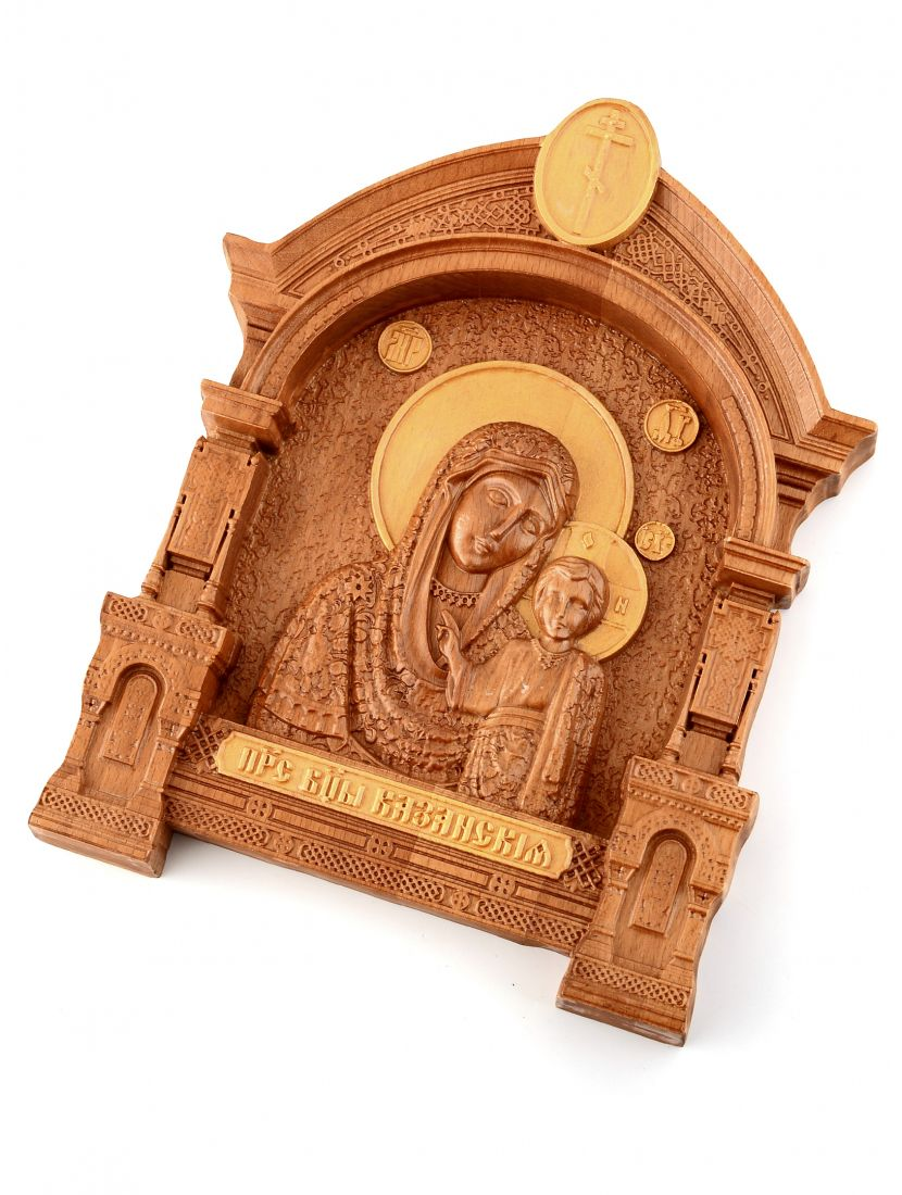Деревянная резная икона «Казанская Божией Матери» бук
