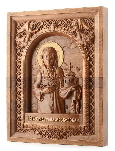 Деревянная резная икона «Святая Матрона» бук 24 x 19 см
