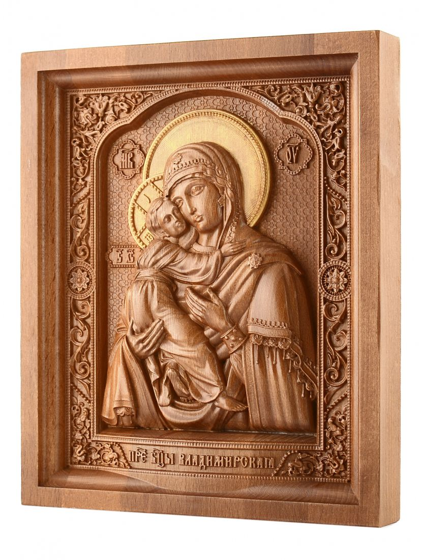 Деревянная резная икона «Божией Матери. Владимирская» бук 24 x 19
