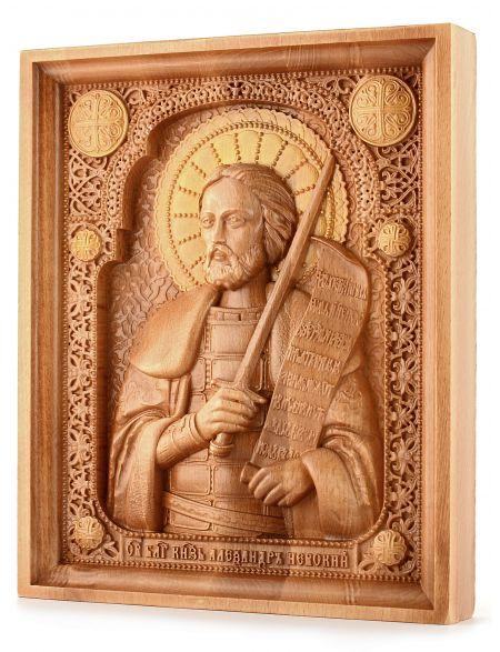 Деревянная резная икона «Князь Александр Невский» бук