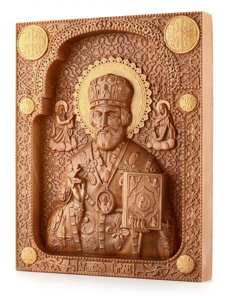 Деревянная резная икона «Николай Чудотворец» бук