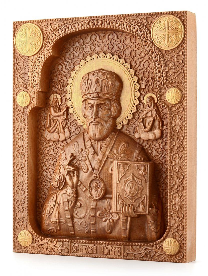 Деревянная резная икона «Николай Чудотворец» бук 30 x 24 см