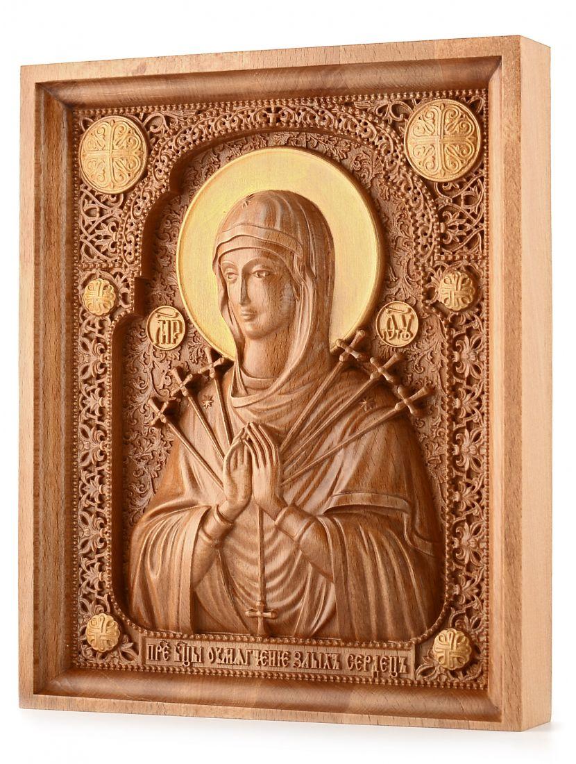 Деревянная резная икона «Божией Матери Семистрельная» бук 57 x 45 см