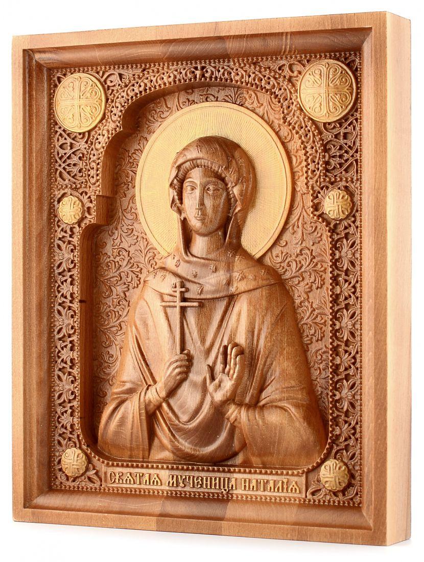 Деревянная резная икона «Святая Наталья» бук