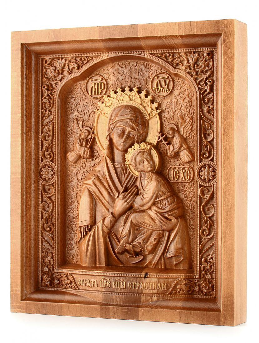 Деревянная резная икона «Божией Матери Страстная» бук