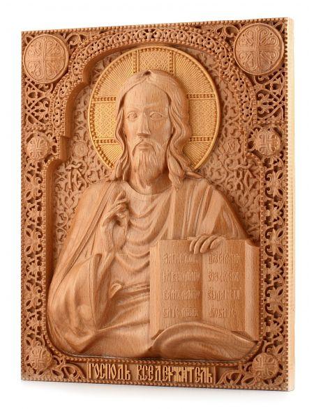 Деревянная резная икона «Господь Вседержитель» бук