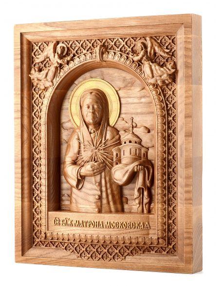 Деревянная резная икона «Святая Матрона» ясень