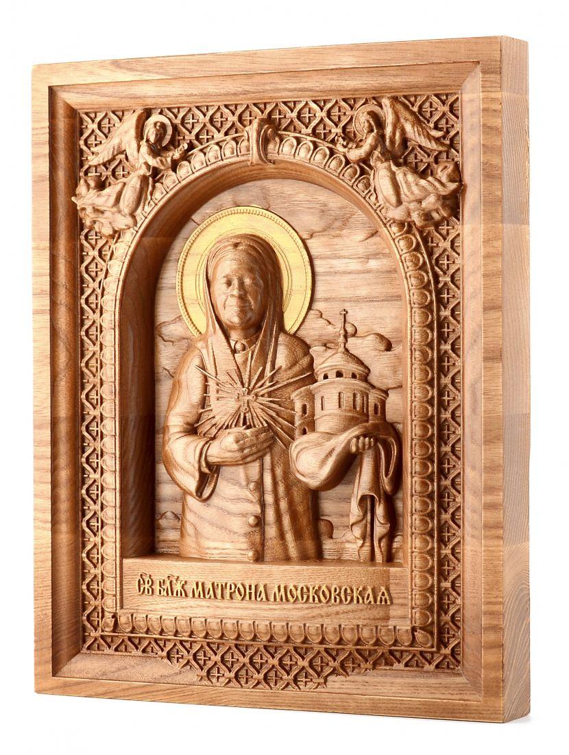 Деревянная резная икона «Святая Матрона» ясень 29 x 23 см