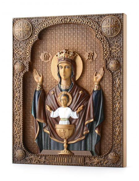 Деревянная резная икона «Неупиваемая чаша» с росписью бук