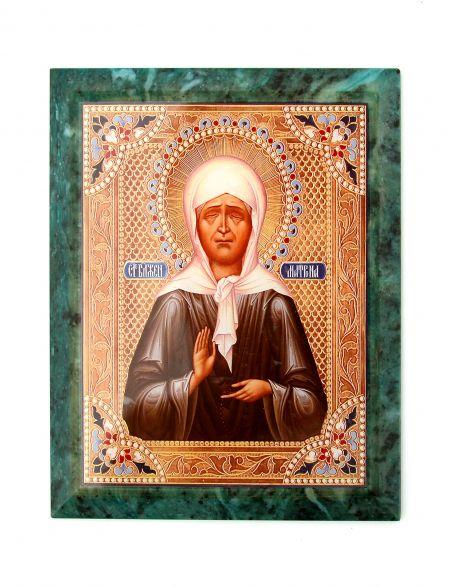 Каменная икона «Матрона Московская» змеевик