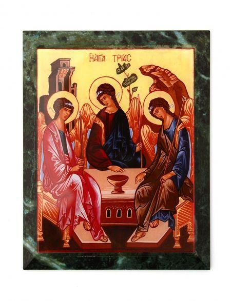 Каменная икона «Святая Троица» змеевик