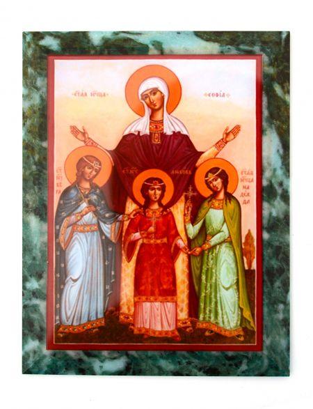 Каменная икона «Вера, Надежда, Любовь и мать их Софья» змеевик