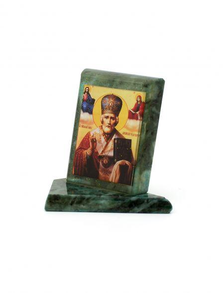 Каменная икона «Николай Чудотворец» змеевик