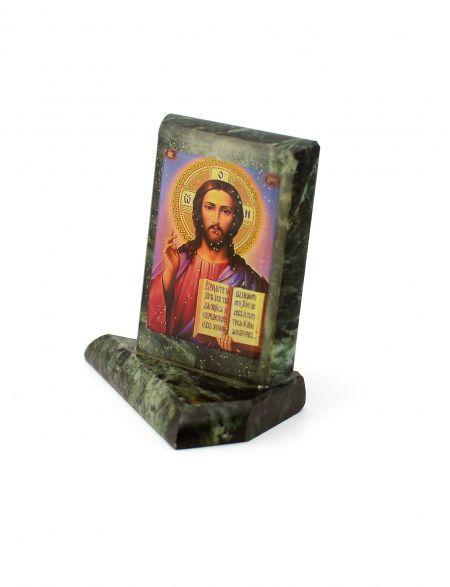Каменная икона «Господь Вседержитель» змеевик