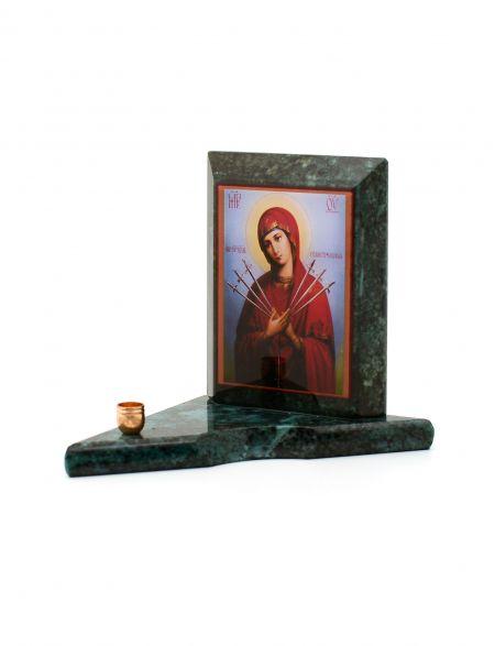 Каменная икона с подсвечником «Семистрельная» змеевик