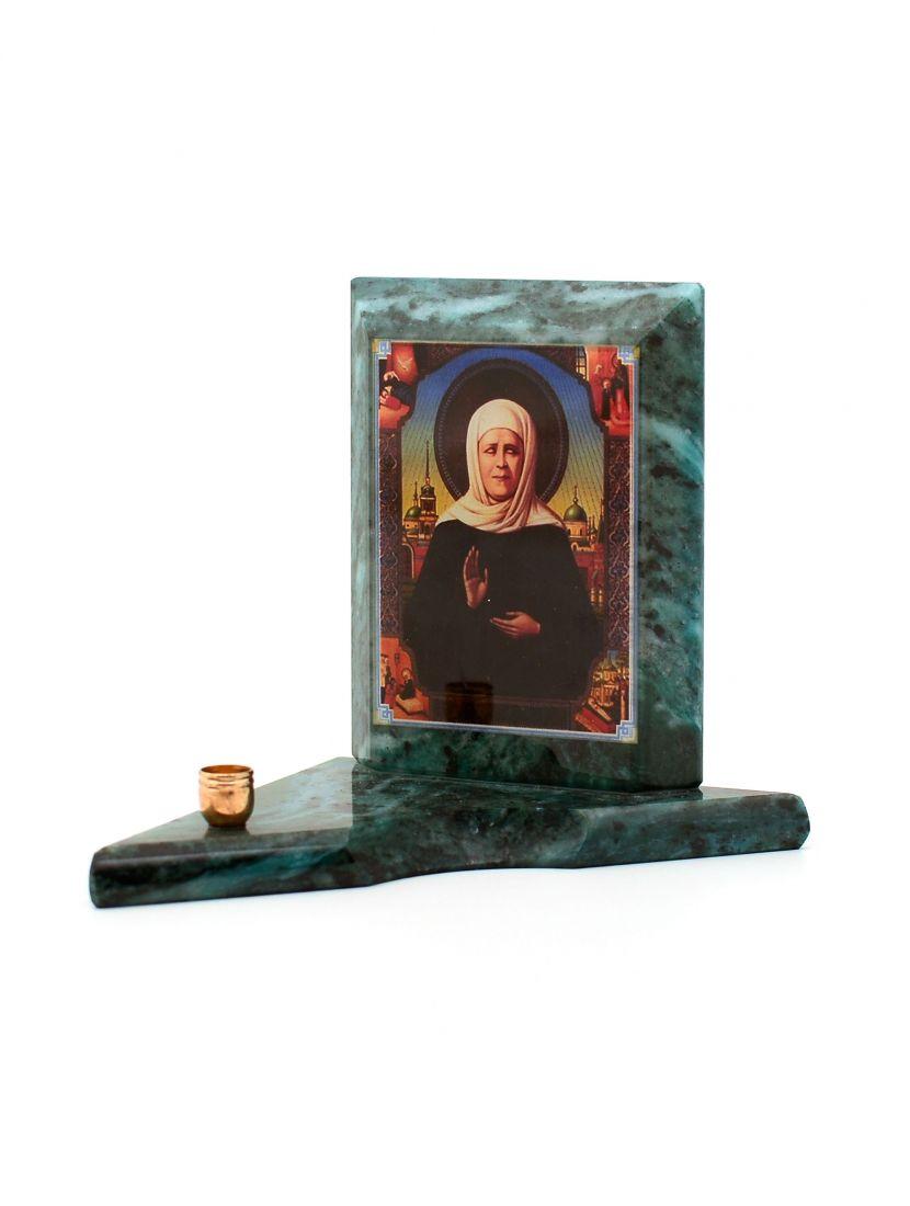Каменная икона с подсвечником «Святая Матрона» змеевик