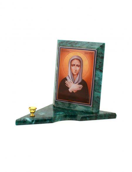Каменная икона с подсвечником «Ксения Петербургская» змеевик