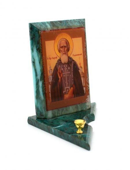 Каменная икона с подсвечником «Сергий Радонежский» змеевик