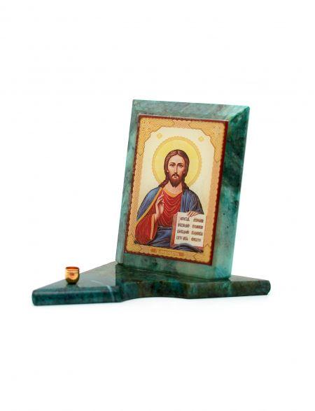 Каменная икона с подсвечником «Господь Вседержитель» змеевик