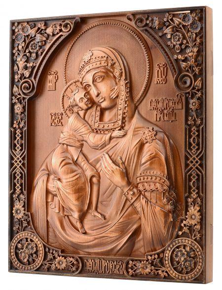 Деревянная резная икона «Божией Матери. Феодоровская» бук