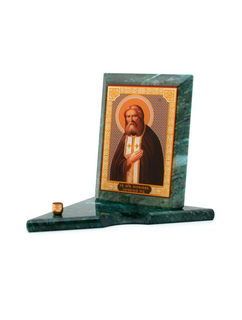 Каменная икона с подсвечником «Серафим Саровский» змеевик