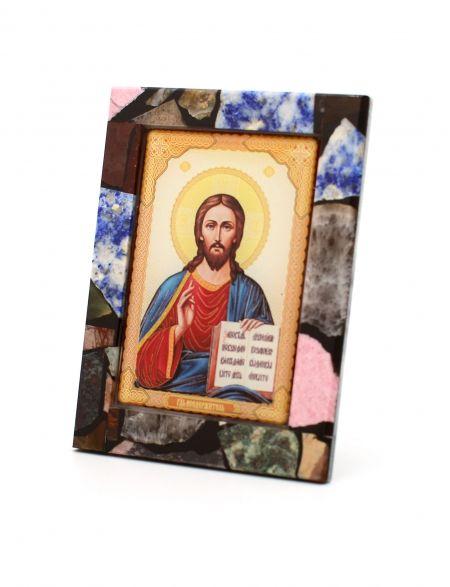 Каменная икона из самоцветов «Господь Вседержитель» с подставкой