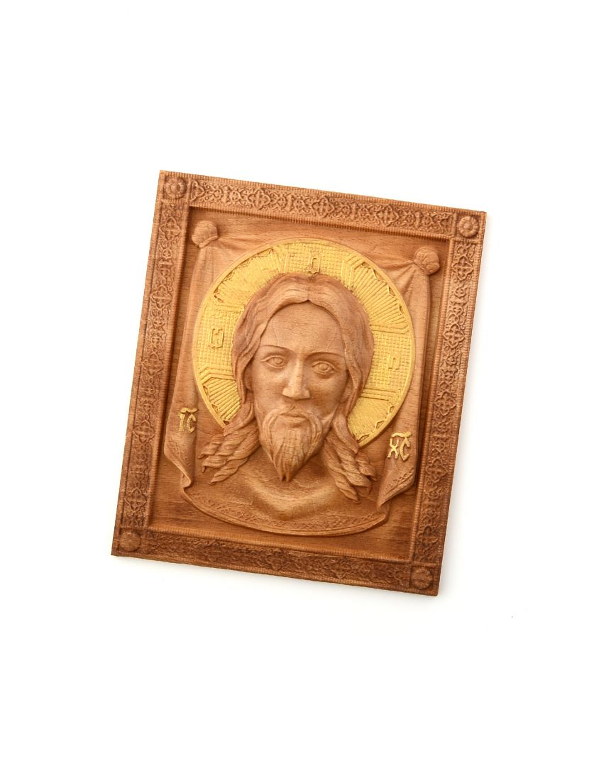 Деревянная резная икона «Спас Нерукотворный» бук