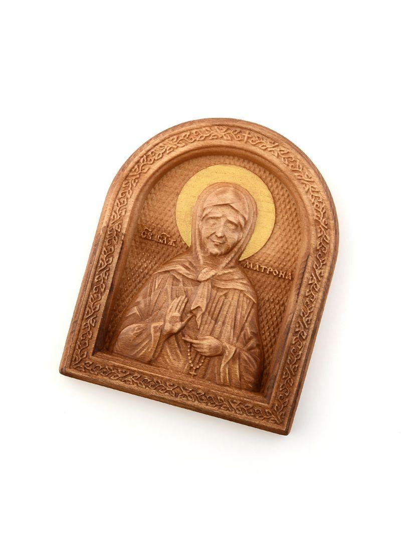 Деревянная резная икона «Блаженная Матрона Московская» бук
