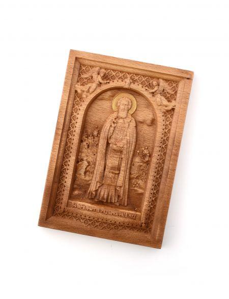 Деревянная резная икона «Сергий Радонежский» бук