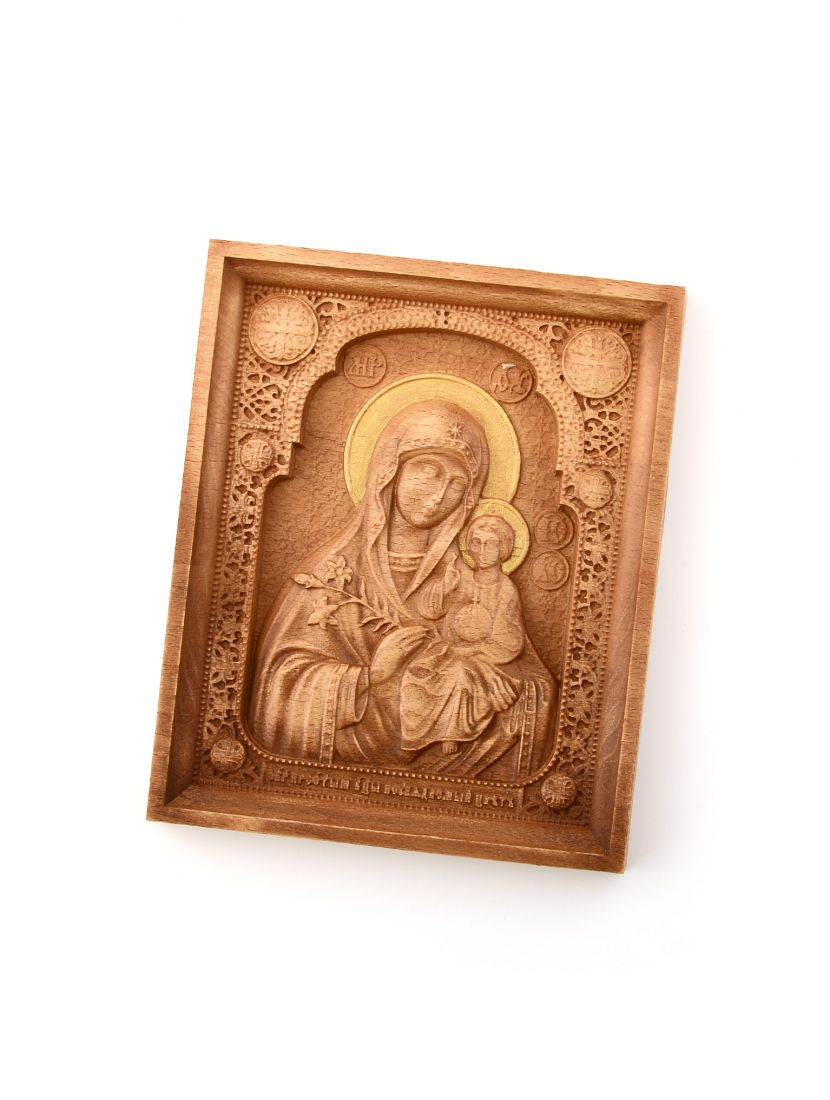 Деревянная резная икона «Божией Матери Неувядаемый цвет» бук