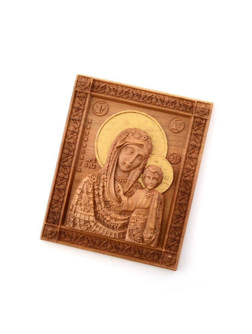 Деревянная резная икона «Божией Матери Казанская» бук 18 x 15 см