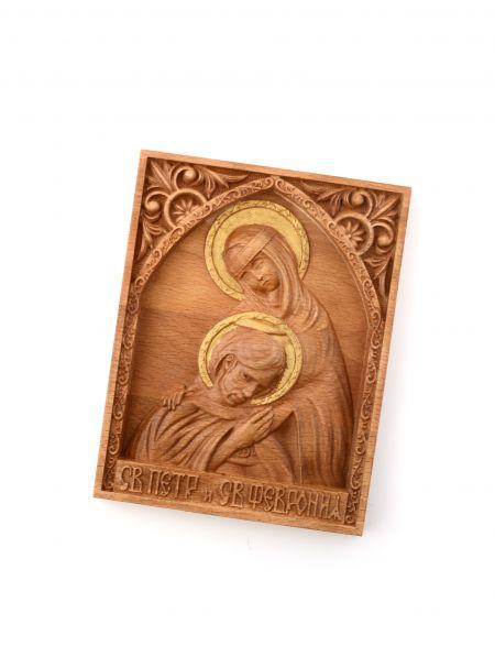 Деревянная резная икона «Святые Пётр и Феврония Муромские» бук