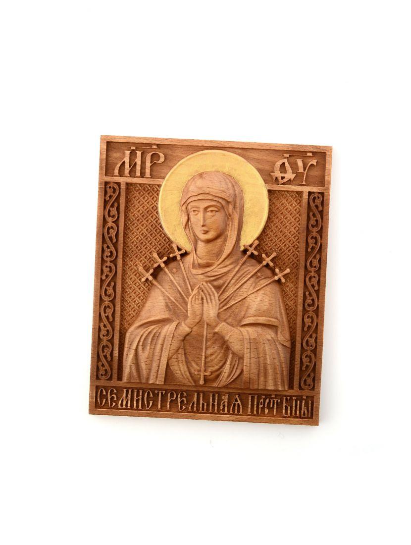 Деревянная резная икона «Божией Матери Умягчение злых сердец» бук 18 x 15 см