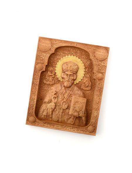 Деревянная резная икона «Святой Николай Чудотворец» бук