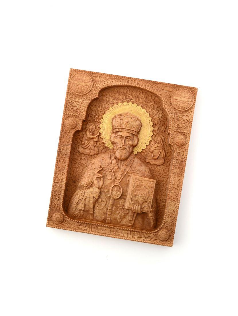 Деревянная резная икона «Святой Николай Чудотворец» бук 24 x 18 см