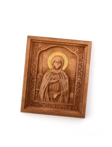 Деревянная резная икона «Блаженная Ксения Петербургская» бук