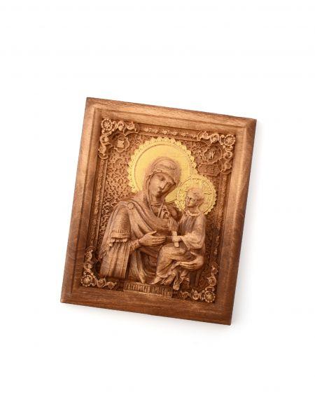 Деревянная резная икона «Божией Матери Тихвинская» бук