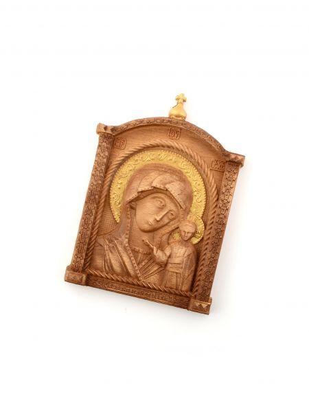 Деревянная резная икона «Божией Матери Казанская» бук