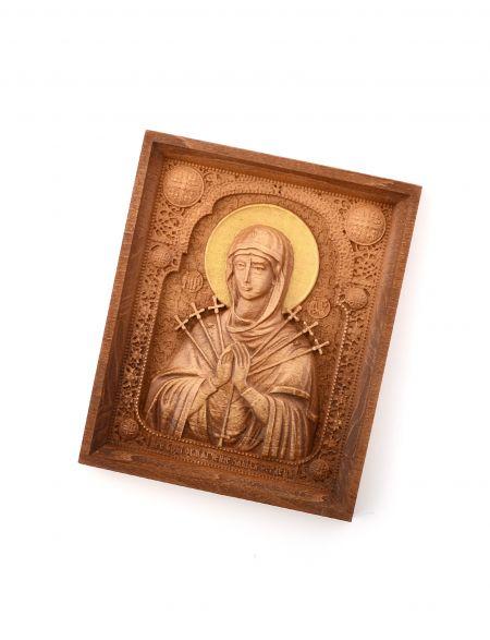 Деревянная резная икона «Божией Матери Умягчение злых сердец» бук