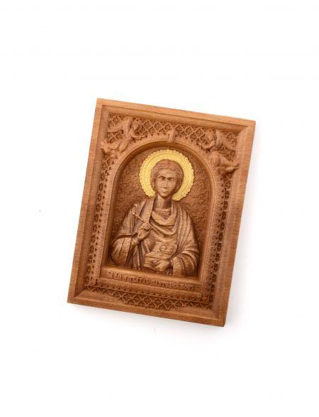 Деревянная резная икона «Святой Целитель Пантелеймон» бук