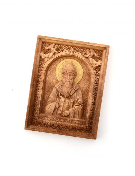 Деревянная резная икона «Святой Спиридон Тримифунтский» бук