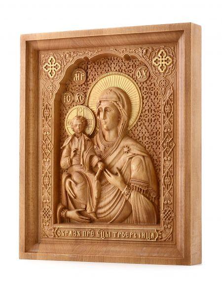 Деревянная резная икона «Божией Матери Троеручица» бук