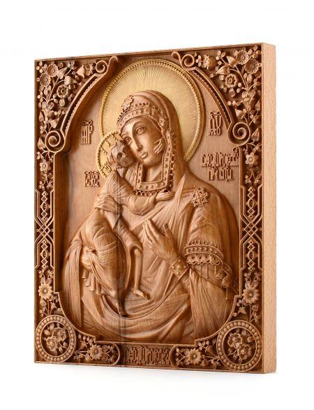 Деревянная резная икона «Божией Матери Феодоровская» бук