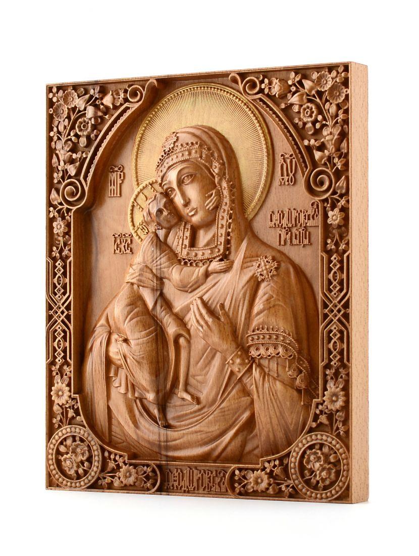 Деревянная резная икона «Божией Матери Феодоровская» бук 57 x 45 см