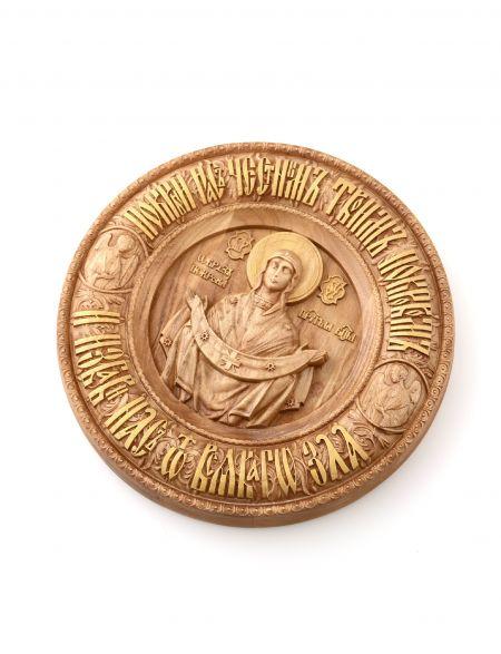 Деревянная резная икона «Покров Пресвятой Богородицы» бук