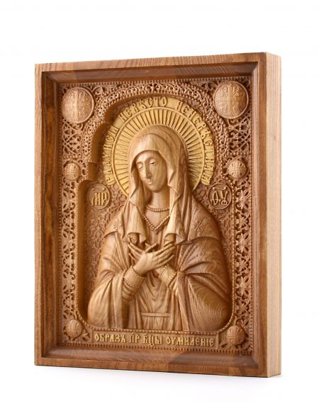 Деревянная резная икона «Умиление Пресвятой Богородицы» бук