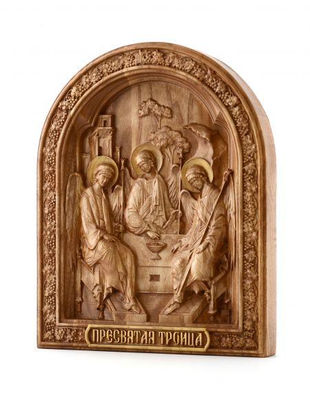Деревянная резная икона «Святая Троица» бук
