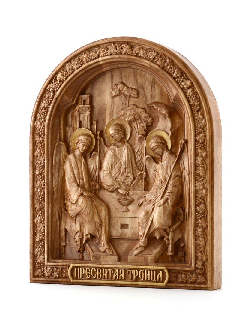 Деревянная резная икона «Святая Троица» бук 30 x 24 см