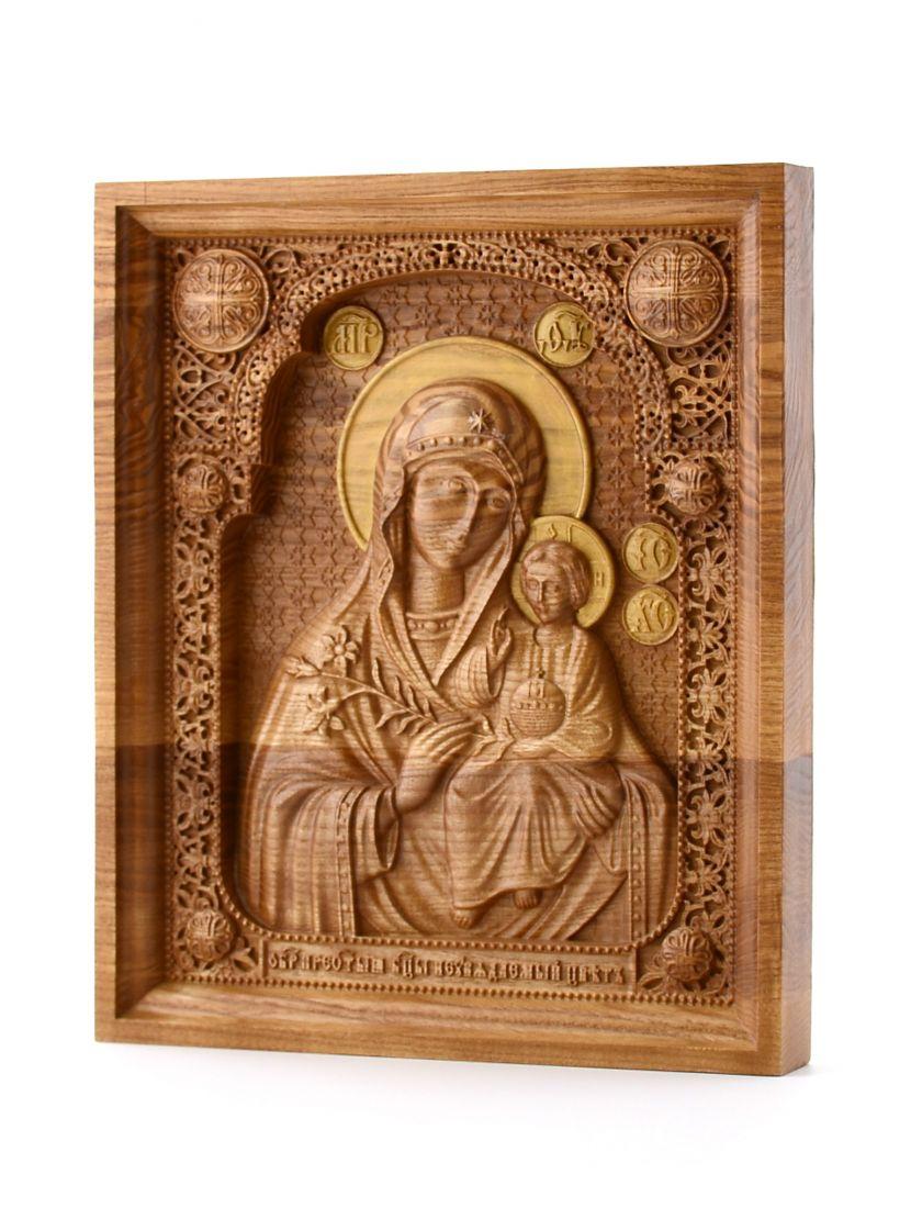 Деревянная резная икона «Божией Матери Неувядаемый цвет» бук 57 x 45 см